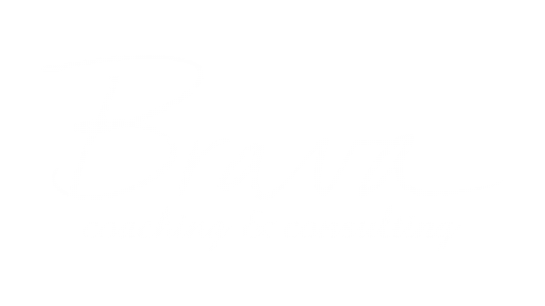 Logo in white, the words brava coaching & consulting in cursive