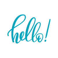 An exclamatory, cursive, teal colored 'hello'.